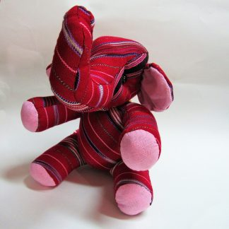 Fair trade toy elephant red by Karen tribe