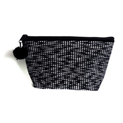 fair trade pouch in black and white woven fabric
