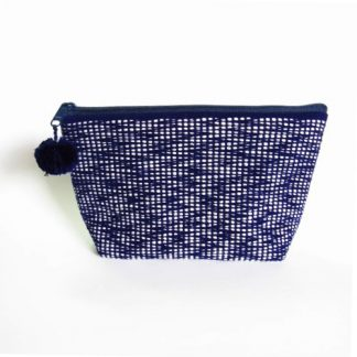 Fair Trade pouch made of woven fabric white on navy blue
