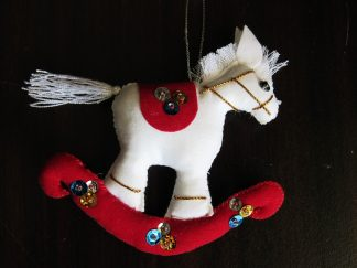 fair trade christmas ornament running horse