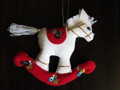 fair trade christmas ornament running horse