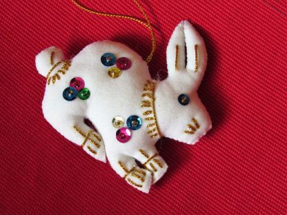 Fair Trade ornament white rabbit